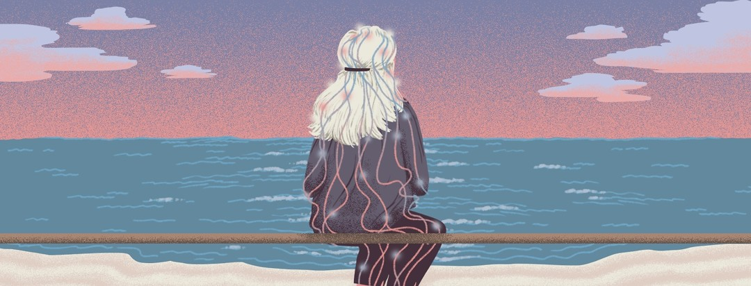 A woman sits on a bench facing out toward an endless ocean. Over her body are lines that shine at certain points and change from pink to blue.