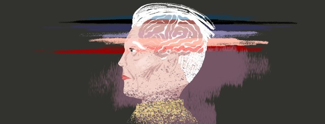An older woman's head and shoulders are shown in profile with her brain showing through her hair. 7 bands of color are lain over her brain, the last band of color extended to cover the rest of her head and shoulders, which appear to be disintegrating.