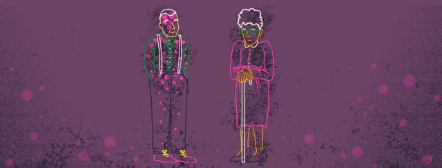 Two elderly people stand next to each other, show only in outline. The man on the left has circular motifs and a scratchy texture drawn over his body, while the woman on the right only has the texture lain over her body.