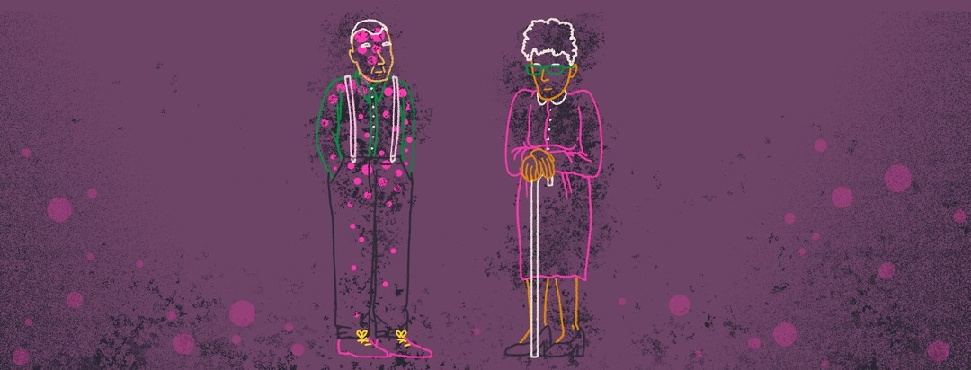 Outlines of two elderly people.The man has circular motifs and a scratchy texture drawn over his body, while the woman has the texture over her body.
