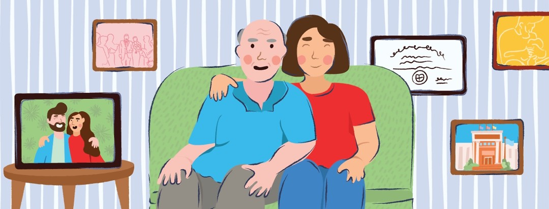 A woman and her father who has Alzheimer's sit together on a couch. Next to them is a picture of them before his diagnosis.