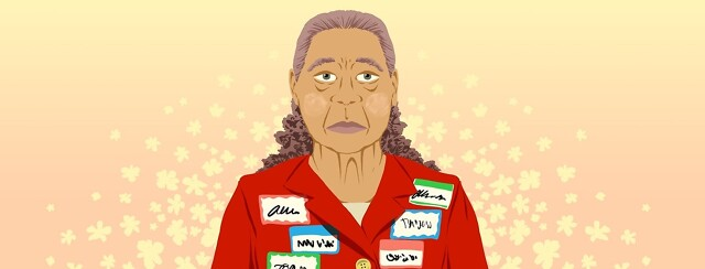 A sad, older woman wears many different name tags, each suggesting a different name in different handwriting.
