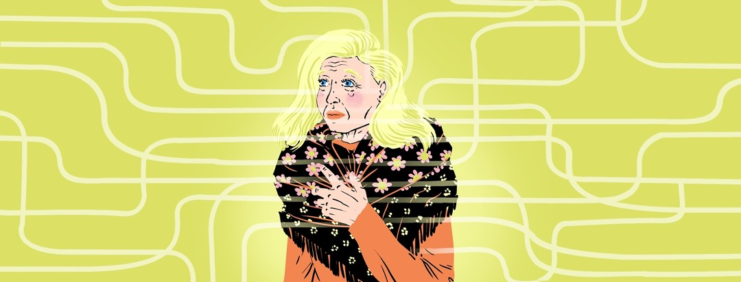 An elegant, older woman with Alzheimer's stands clutching a shawl around her, looking confused. Lines as on a map emanate from her.