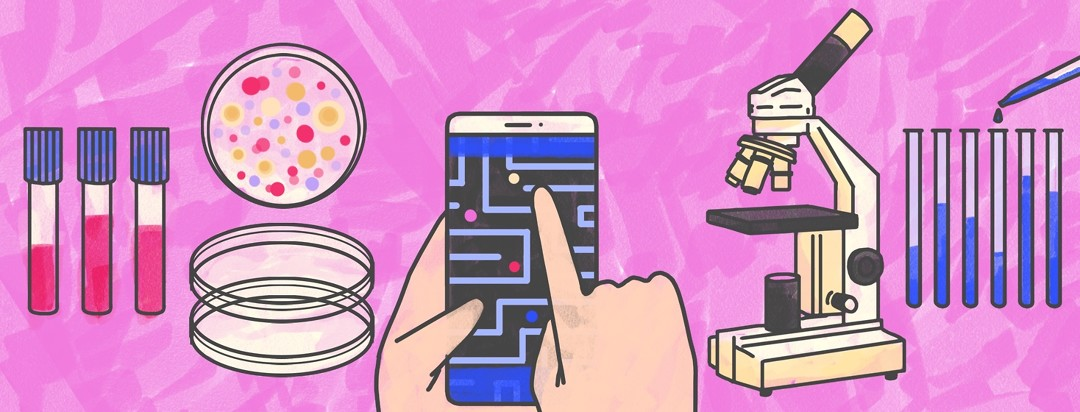 Hands playing a maze game on a cellphone are among traditional lab equipment: a microscope, test tubes, and petri dishes
