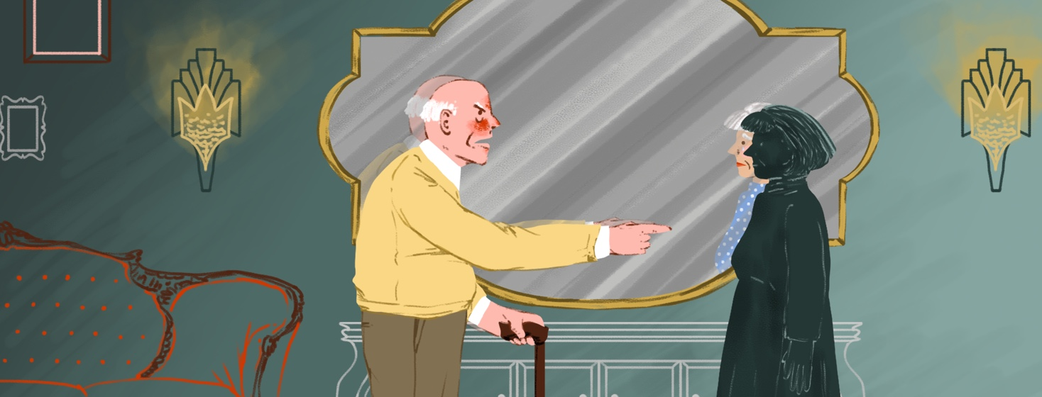 An angry elderly man jabs his finger at an elderly woman standing in front of him. The woman looks not to be real, but in the mirror to her right, her reflection shows a real person, looking very sad.
