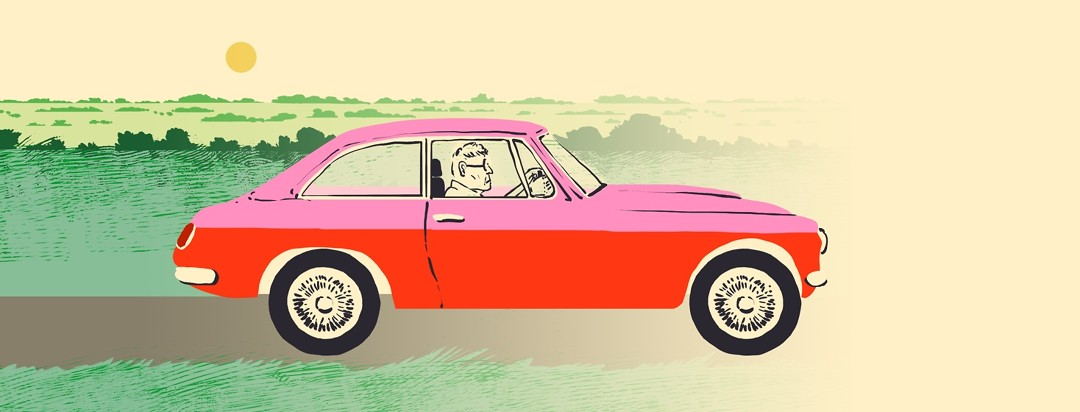 An older man drives a car against a background that fades into nothing on the right side of the frame.