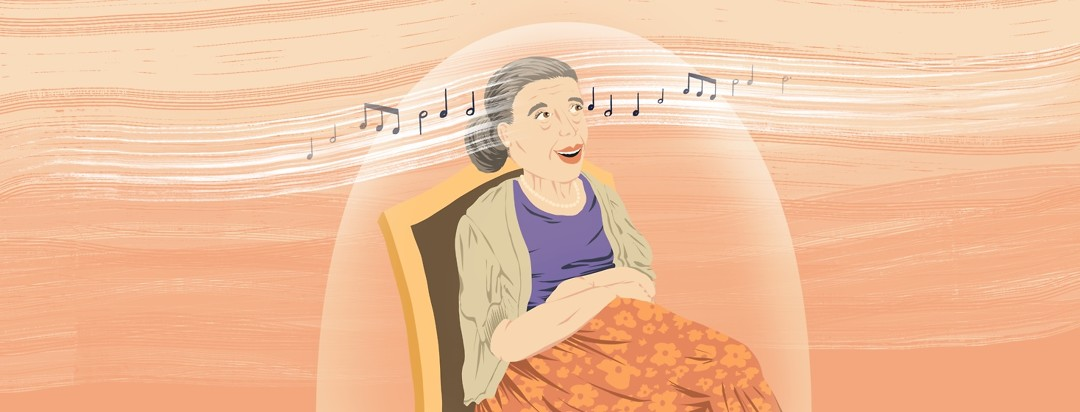 A woman with Alzheimer's sitting in a wheelchair brightens and sings along with music notes swirling around her.