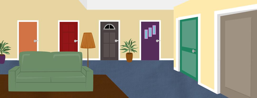 A living room with five doors