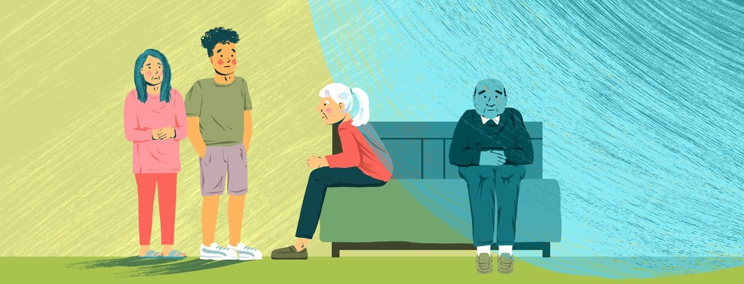 Two older people sit on a bed, one facing forward and the other in profile. A blue circle covers the person sitting forward and rests on the back of the person in profile. Beside the bed stand two younger people looking on.