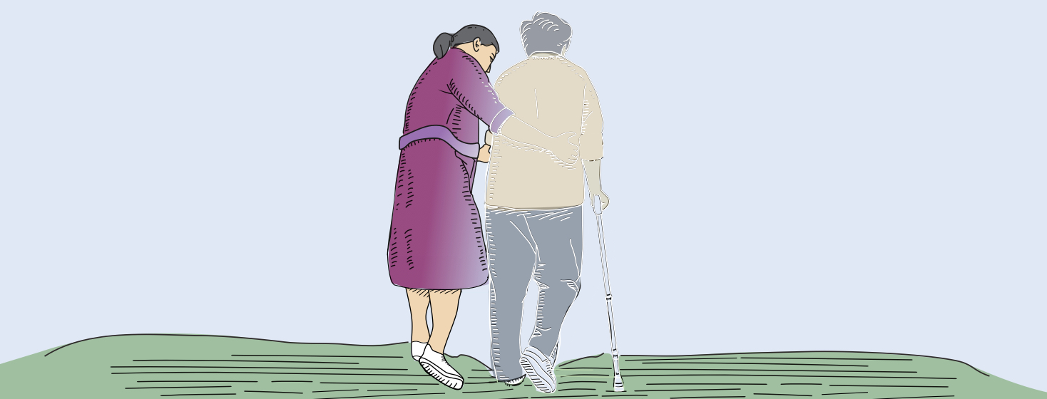 An elderly husband and wife couple walking. The man is walking with a cane and appears almost transparent as the woman helping him gradually starts to disappear as well.