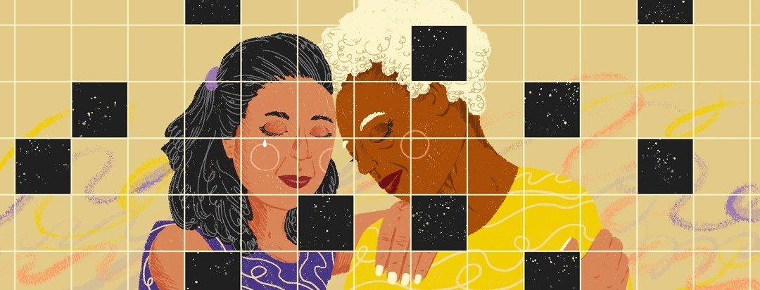 A mother and daughter lean in with their heads together and eyes closed. A grid is overlain onto their image, with parts of the grid, instead of portraying the pair, shows a dark night sky.
