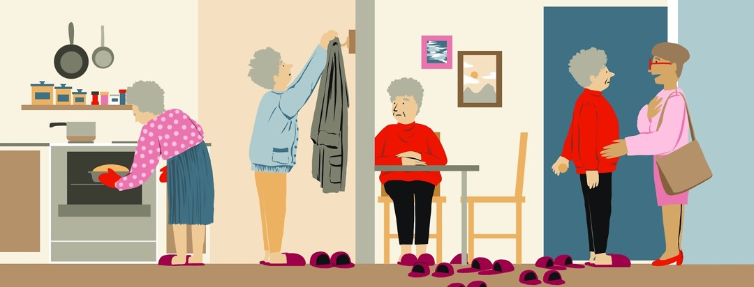 The same older woman is shown performing some tasks alone in her house, but the number of purple slippers she own seems to multiply.