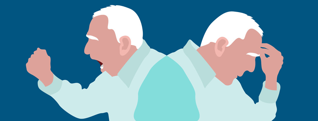 An elderly man is shown in two states of emotional distress.