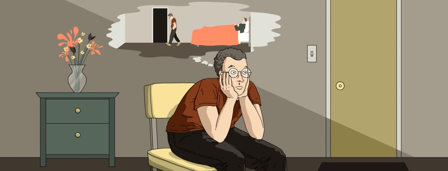 An anxious looking man sits in the middle of a room with his head on his hands. A thought bubble above his head shows him walking out on an elderly man in bed.