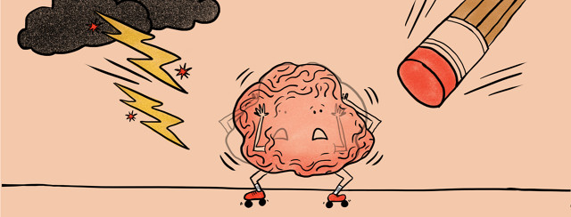 Brain nervous about painful lightning bolts hitting it or a giant eraser erasing it