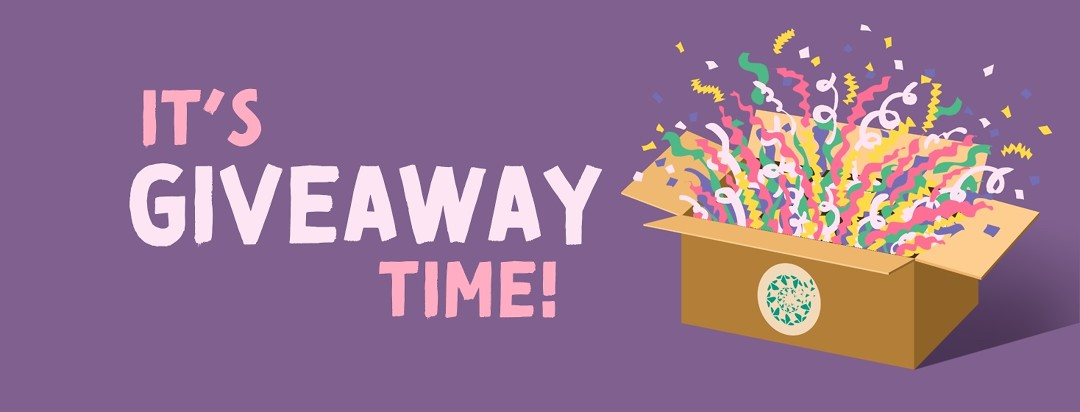 A gift box bursts with bright confetti, text reads it's giveaway time