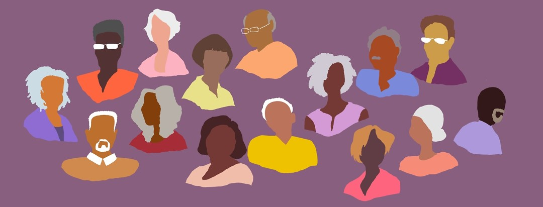 A racially and ethnically diverse group of faces of older people.