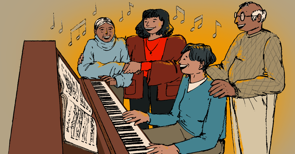 A family of adults and elderly people sit and stand around a piano, singing.
