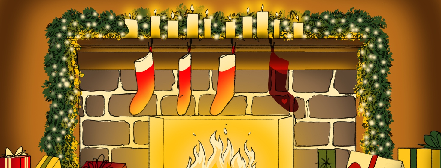 Several stockings are hung over a blazing fireplace that also features a Christmas garland draped over the sides and a row of lit candles. One of the stockings has a heart on it and appears more like a shadow than an actual stocking.