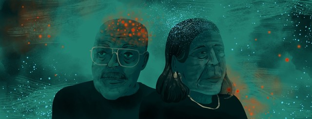 An elderly man and woman stand next to each other, slightly overlapping. Red dots are sprinkled across the man's head, and blue dots are on the woman's.
