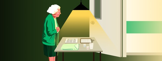 An elderly woman considers several objects on a table before her: a folded hospital gown, a stapled stack of papers, a clipboard with a bulleted list, and a glass of water next to several cups of pills. Beyond the table is an open door leading to a hospital hallway.