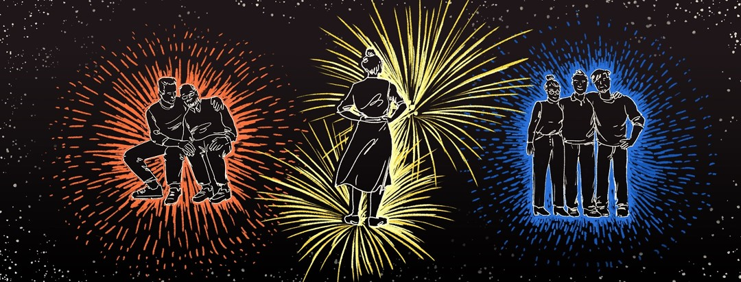 Three groups of people are shown against a background of fireworks. One is a caregiver and Alzheimer's patient, one is a person alone, looking up, and one is three people smiling together with their arms around each other's shoulders.