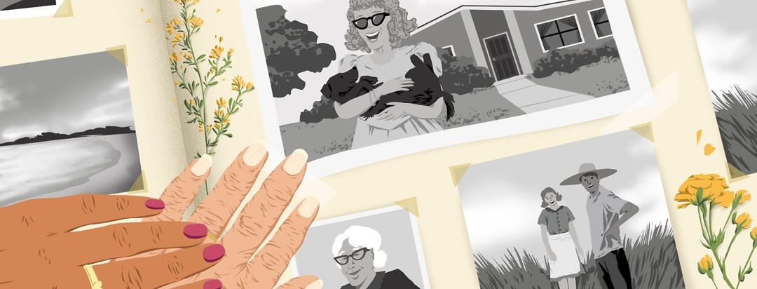 A photo album full of B&W photos is spread out. An elderly person's hand lightly touches one of the photos, and a younger person's hand is on top of the other hand.