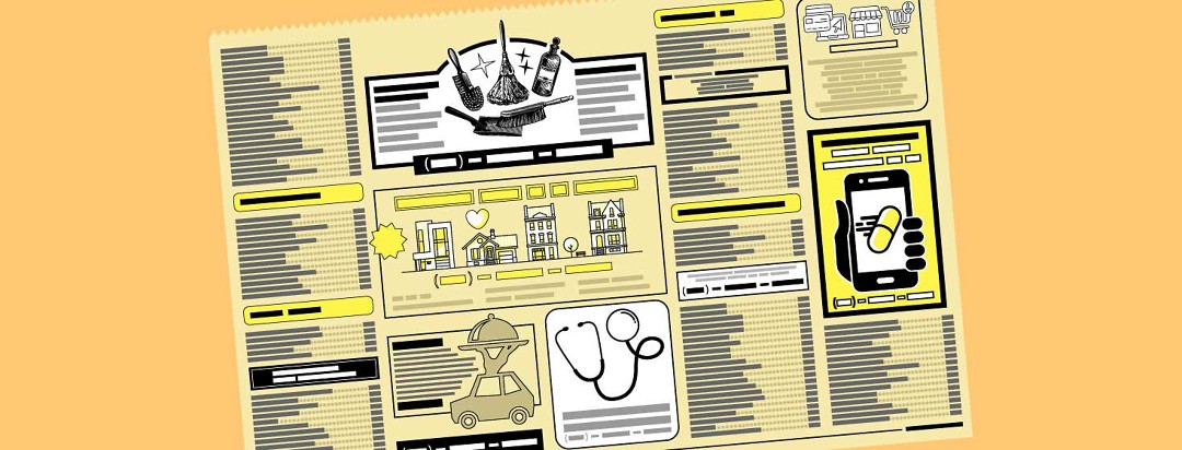 A yellow pages classified ads section shows several ads promoting services specific to the needs of an Alzheimer's caregiver.
