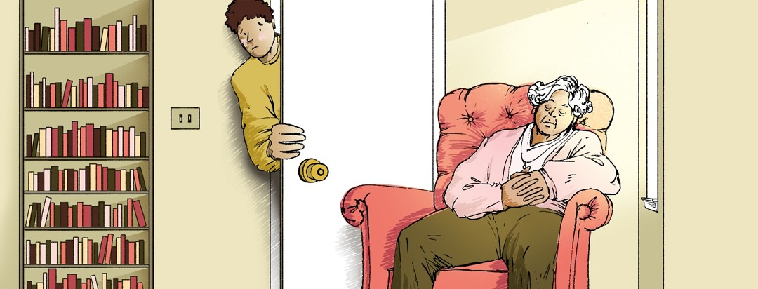 An elderly woman is napping in an armchair while daylight from a window streams into the room. A younger man peeks through a doorway to look at the woman with a concerned expression on his face.