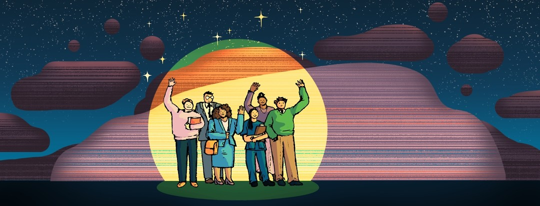 A group of smiling and waving differently-dressed professionals stand illuminated in a spotlight against a barren landscape.