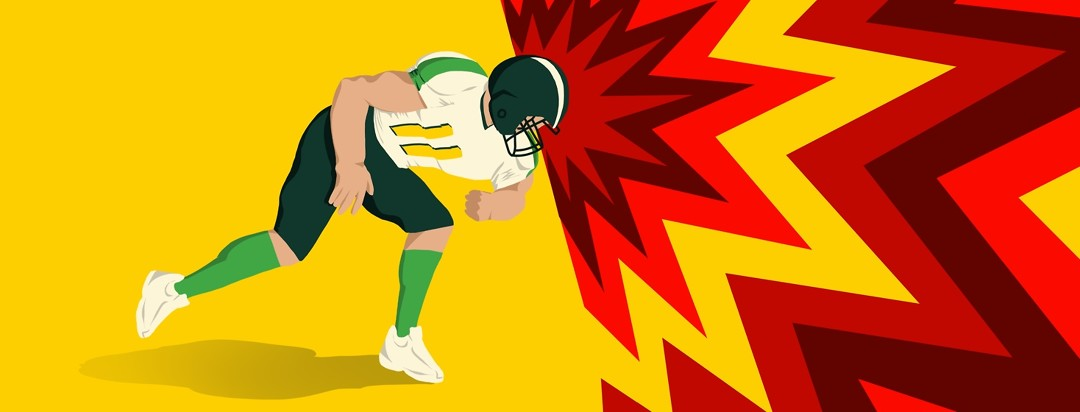 A football player leads with his head in a position to hit someone else, creating a bright, vivid burst of unending color.