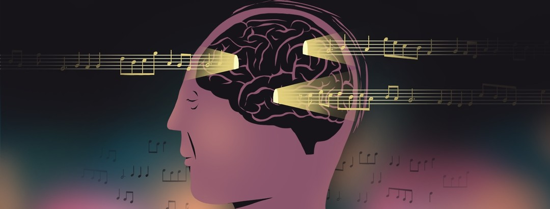 A person's head is seen close-up in profile. Lines of music pass through bright lit up in the otherwise dark outlined brain.