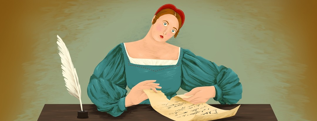 A Renaissance woman sits at a desk with a quill and inkwell. She is staring ahead and tearing up a piece of paper that has writing on it.