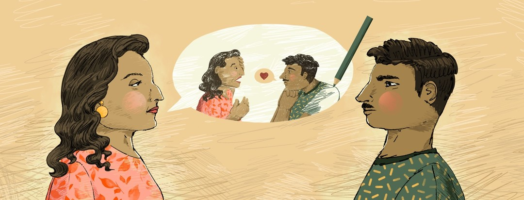 A man and woman stare at each other silently. Between them is a speech bubble showing a hand-drawn version of them having an impassioned conversation.