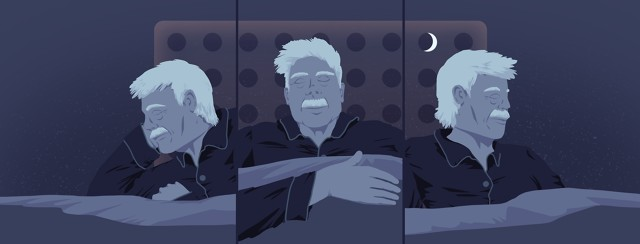 An older man is seen in three stages of deep sleep. Behind him is the shape of a pill packet, with a crescent moon sitting in one of the circular pockets.