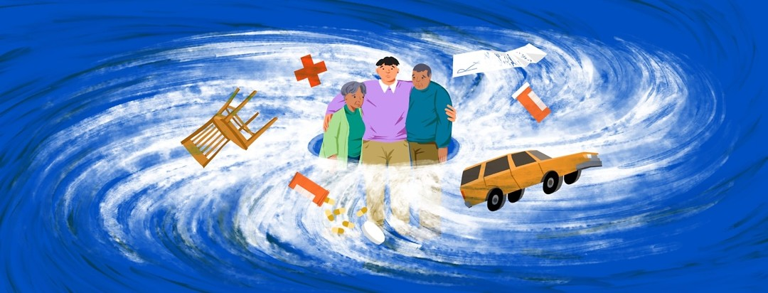 A concerned adult son stands with his arms around his also concerned and disoriented elderly parents as a hurricane swirls around them, including flying objects like a car, chair, medications, and and a prescription slip.