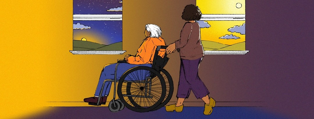 A woman pushes an elderly woman in a wheelchair as they pass by two windows: one showing a sunset and the other showing a sunrise.