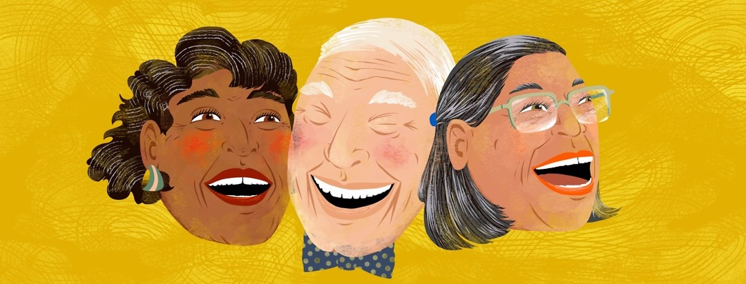 Three faces of elderly people laughing.
