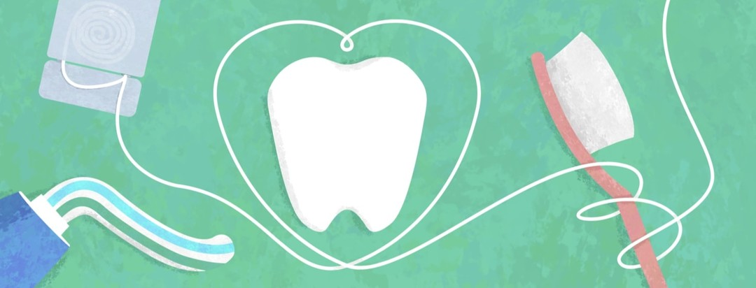 a tooth with floss making a heart around it and a toothbrush and tooth paste near