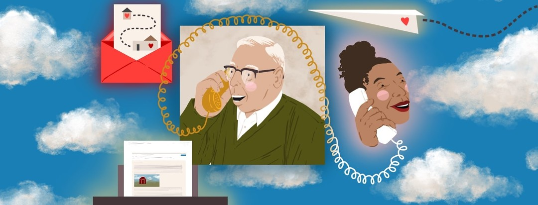 A frame of an older man smiling and talking on a telephone is surrounded by open sky and other frames of a card with hearts on it, an email being printed out, a paper airplane with a heart flying toward the man, and a smiling woman on the other line of the telephone.