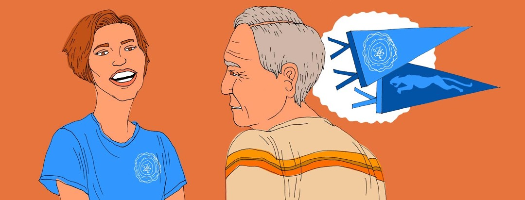 A younger woman wearing a shirt with a college emblem on it is smiling and facing an older man whose thought bubble includes college and university pendants of the same color as the woman's shirt.