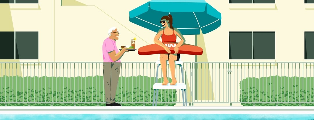 A smiling elderly brings a tray of food out to a delighted woman working as a lifeguard at an apartment complex pool.