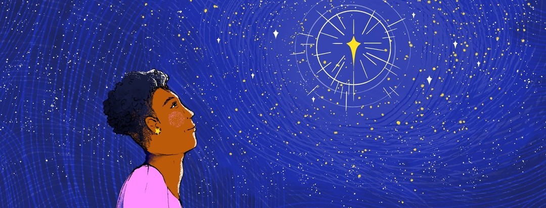 A woman looks up at a shining, twinkling star.