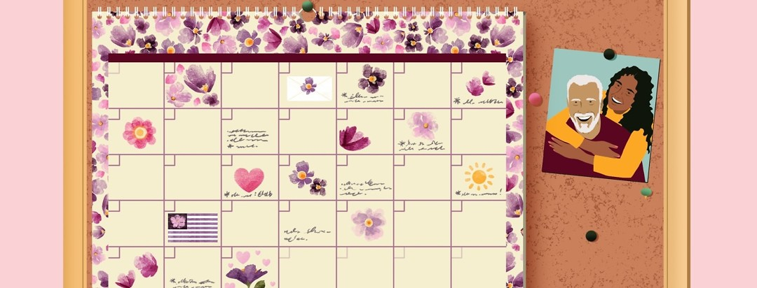 A calendar with many dates with notes, flowers, and hearts drawn in is tacked up next to a photo of a woman hugging an older man.