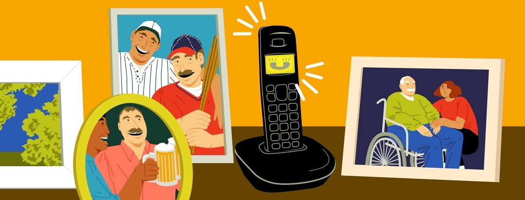 A phone is ringing in its cradle. It is surrounded by framed pictures of the same man with a baseball, drinking beers with friends, and looking much older and more frail in a wheelchair.