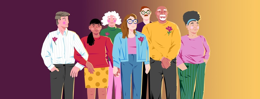 A diverse group of people stand together looking hopeful and determined. Some have purple flowers pinned to their shirts.