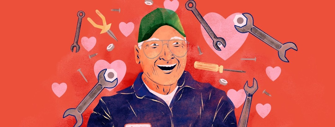 A portrait of an older man in a mechanic's coveralls is surrounded by hearts and other mechanic tools like nuts, bolts, wrenches, etc.