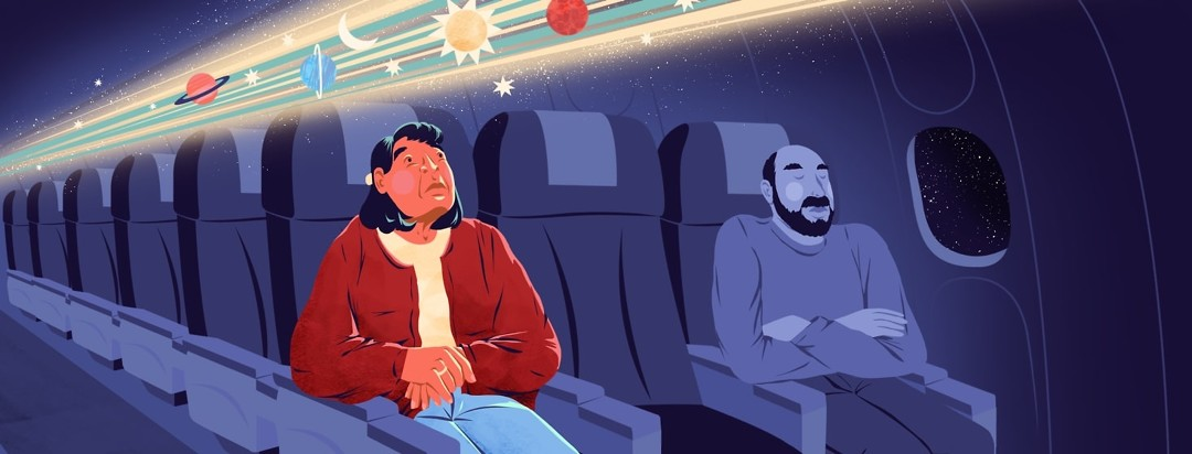An older woman traveling alone on an airplane looks distressed by beams of light appearing overhead that show a sun, moon, planets, and stars passing rapidly. The beams of light only illuminate her, not the other person in her row, who is asleep.