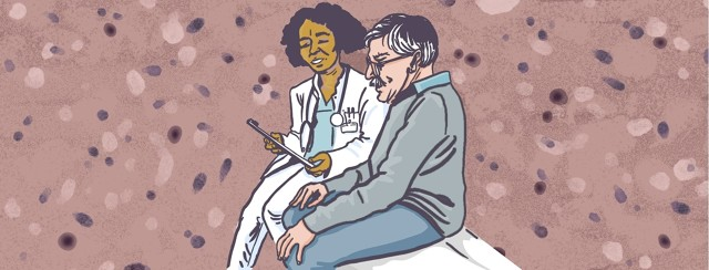 A female doctor explains a diagnosis to an older man. The background resembles Lewy bodies.