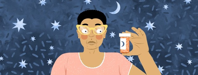 A woman in pajamas looks skeptically at a bottle of pills she is holding up. The background shows a pattern of pills, stars, and a moon.
